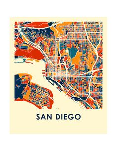 San Diego Map Print Full Color Map Poster by iLikeMaps on Etsy