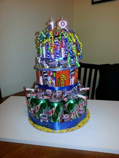 Idea for a #teens birthday - cake of favorite candy and soda!