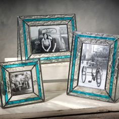 Create the feel of cool, refreshing breezes with Pic 308 series #oceania and ocean blue glass picture frames from J. Devlin Glass Art. Clear oceania glass resembling pieces of ice is overlaid with strips of watery-blue stained glass to create a flowing, dimensional look.