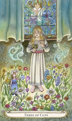 Three of Cups - The Fairy Tale Tarot by Lisa Hunt
