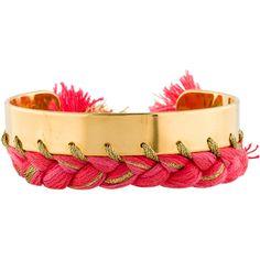 Aurelie Bidermann Copacabana Bracelet ($145) ❤ liked on Polyvore featuring jewelry, bracelets, aurélie bidermann, braid jewelry, gold tone jewelry, cord jewelry and orange jewelry