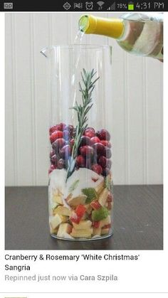 Ingredients 1 bottle Pinot Grigio ½ Cup white grape juice ¼ Cup Sugar 1 Cup fresh Cranberries 3 sprigs of rosemary 2 granny smith apples, small dice  Yield: 1 pitcher sangria Total Time 1 hour, 10 minutes Prep time 5 minutes Inactive time 1 hour Cook time 5 minutes Recipe Type: Cocktail