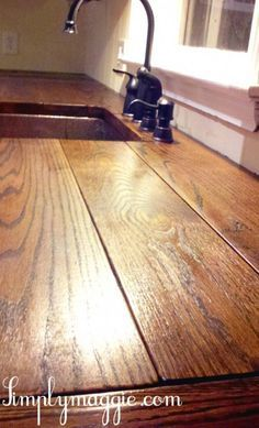 DIY Wide Plank Butcher Block Counter Tops, might do this wide plank top instead of the smaller slats. DIY Wide Plank Butcher Block Counter Tops, might do this wide plank top instead of the smaller slats. Kitchen Redo, Kitchen Design, Kitchen Ideas, Kitchen Layout, Diy Countertops, Wooden Kitchen Countertops, Pallet Countertop, Kitchen Backsplash, Diy Holz