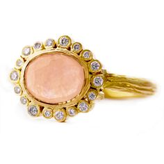 Laurie Kaiser pale pink rose cut sapphire Sprinkles Ring.