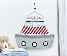 "Keep baby's nursery organized with our beautiful fabric boat . Hang navy boat on the wall near the changing table , where it holds diapers and other essentials at the ready. The details make the difference: * 6 pockets for a convenient storage. * 20"" x 25"" (50x64cm) - Larg size for your convenience. * Decorated with chic nautical colors. A great way to welcome the new baby home. * Use to store baby's essentials for changing time. Price: $79"