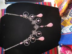 Pink Stone Dangles and chips. $15