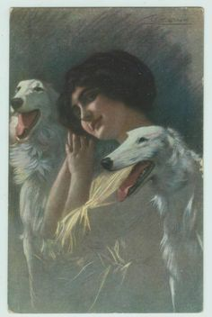 Guerzoni postcard of beautiful woman with two Borzoi dogs  postmarked 1916