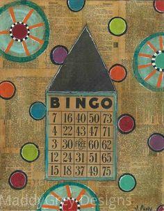 house, home, she art, bingo, folkart, pinwheel art, whimsical art, humble abode, dwelling, bingo card art, gift for her, safe haven, dots - pinned by pin4etsy.com