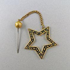 Victorian Antique Jabot Pin Black Enamel by OldJewelryStore