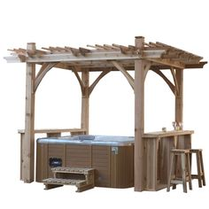 Get sheltered! 8' x 8' Cedar Breeze Pergola Spa Shelter Kit at Walmart.ca