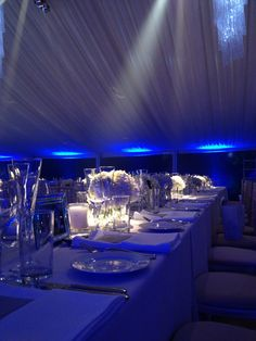 Cool and sophisticated lighting for a winter wedding reception