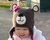 Customizable Crochet  Bear Hat with Earflaps and Braids, 2T-4T, 5T-Preteen Sizes
