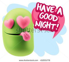 3d Rendering. Emoji saying Have A Good Night with Colorful Speech Bubble. I Love It with Colorful Speech Bubble.