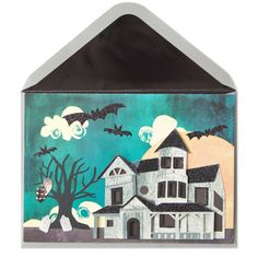 Make this Halloween worth screaming about with this cool handmade card. A gothic scene of a haunted house underneath a cloudy bat filled sky and a full moon is made with paper sculpture and dazzling glitter. | Price $6.95