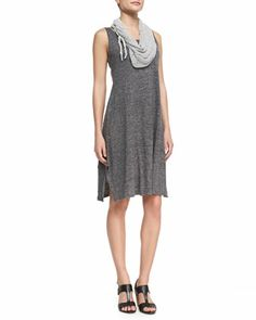 Scoop-Neck Melange Jersey Dress & Hand-Knit Cord Scarf by Eileen Fisher at Neiman Marcus.