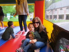 Field Day inside the bouncy house with everybody's favorite teacher and best hugger, Mrs. Fleming!
