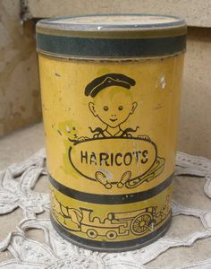 Vintage old french yellow metal tin box Haricots 18