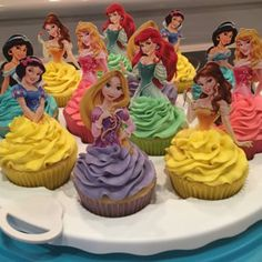 Princess Cupcake Toppers, Superhero Cupcake Toppers, Custom Cupcake Toppers, Cake Pop Toppers, Just about any theme Toppers! - added a photo of their purchase Disney Princess Birthday Cakes, Disney Birthday, Girl Birthday, Birthday Ideas, Birthday Decorations, Superhero Cupcake Toppers, Princess Cupcake Toppers, Princess Cake Pops, Princess Cookies