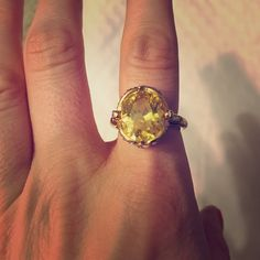 Faux yellow and diamond dinner ring with fireflies Adjustable to fit anyone! Juicy Couture Jewelry Rings