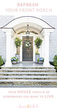 Apply these tips to refresh your front porch for summer. Fiddle Fig trees with blue and white hydrangeas frame this Nantucket style entry.
