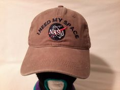 9d73a33e2eb Vtg NASA Khaki strapback dad hat unstructured by RetroVintageDope Cap Sale
