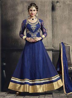 Blue Georgette Long Anarkali Suit 65921