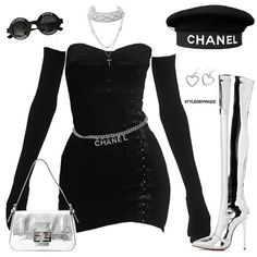 obsessed with chanel ✨💍 (more outfits at Kpop Fashion Outfits, Stage Outfits, Edgy Outfits, Mode Outfits, Classy Outfits, School Outfits, Fashion Dresses, Look Fashion, Korean Fashion