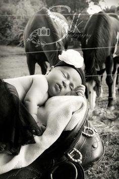 #photography#newborn#horse#field#country#pose#saddle#baby ©slkphotography