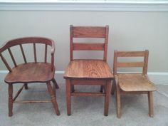 3 antique kids chairs - painted to match room. Pink turquoise distressed white?