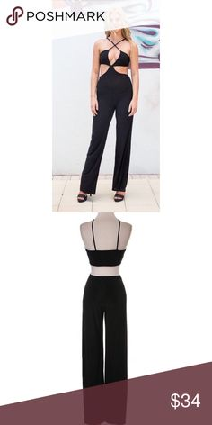 HP Black Jumpsuit Super comfortable black jumpsuit with criss cross front side cut outs and open back. Runs small. Boutique Pants Jumpsuits & Rompers