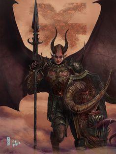 Commission - Valkia the Bloody - ART by David Sondered (PRO) Freelance Illustrator Fantasy Battle, Fantasy Races, High Fantasy, Dark Fantasy Art, Fantasy Artwork, Dark Art, Warhammer Fantasy Roleplay, Warhammer 40k Art, Fantasy Character Design