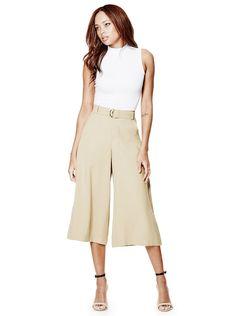 Anja High-Rise Cropped Wide-Leg Pants | GUESS.com