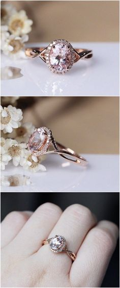 Pink Morganite Ring 6x8mm Solid 14K Rose Gold Oval Morganite Engagement Ring Wedding Ring / http://www.deerpearlflowers.com/engagement-rings-from-etsy/