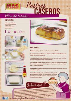 Infografía de la receta de flan de turrón Jello Recipes, Mexican Food Recipes, Sweet Recipes, Dessert Recipes, Hispanic Desserts, Peruvian Desserts, Delicious Desserts, Yummy Food, Healthy Food