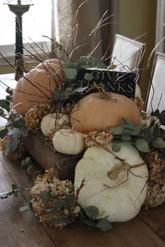 Lucy put this beautiful Fall center piece together.  We placed it on the table in one of our breakfast rooms.  You may remember Lucy just had a little one so she makes these at home and her husband drops them off on his way in to the city.: