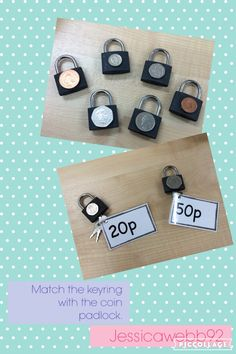 Match the keyring with the coin padlock. EYFS Match the keyring with the coin padlock. Maths Eyfs, Numeracy Activities, Money Activities, Classroom Activities, Early Years Maths, Early Math, Early Learning, Teaching Money, Teaching Math