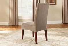 I was thinking of making new covers for our dining room chairs, but these look like an easier solution -- :)  Sure Fit Slipcovers Stretch Pinstripe Short Dining Chair Cover - Shorty