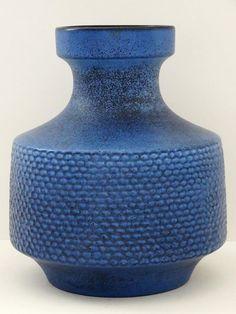 Eckhardt & Engler Mid Century Large Blue Incised West German Vase