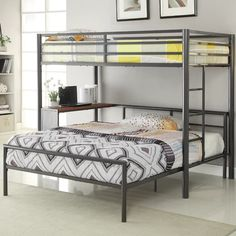 Workstation Twin over Full Loft Bed Coaster Furniture in Kids Loft and Bunk Beds. Twin-over-Full Workstation Loft Bed by Coaster Furniture. Queen Bunk Beds, Full Bunk Beds, Kids Bunk Beds, Full Bed, Loft Beds, Metal Bunk Beds, Modern Bunk Beds, Modern Loft, Modern Bedroom