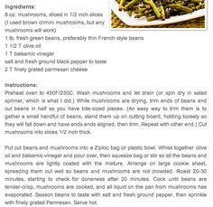 Mushrooms and green beans