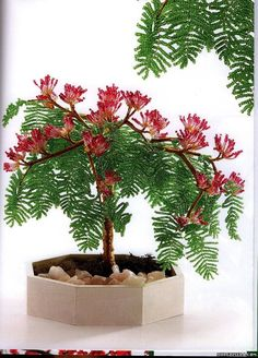 """""""Mimosa"""" - a tree with unusual, attractive, fragrant flowers, pompoms and interesting foliage, like a fern. Seed Bead Flowers, French Beaded Flowers, Wire Flowers, Beaded Crafts, Wire Crafts, Tree Plan, Wire Trees, Beading Projects, Beads And Wire"""