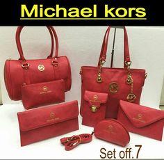 Michael Kors Handbag Wallet Clutch Vanity Pouch Key Chain Combo Set