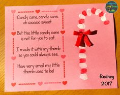 candy cane poem and thumbprint Christmas card for parents – christmas classroom – Ansicht Christmas Poems For Cards, Christmas Gifts For Parents, Homemade Christmas Cards, Handmade Christmas, Christmas Card Ideas With Kids, Christmas Card For Teacher, Toddler Christmas Gifts, Xmas Gifts, Candy Cane Poem