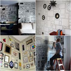 Molduras desenhadas na parede. É possível deixar o ambiente divertido gastando pouco e ainda usar a criatividade para deixar a decoração do seu jeito.