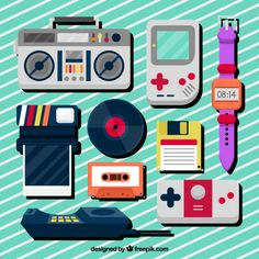 Collection of eighties flat objects Free Vector Vintage Cartoon, Retro Vintage, Vintage Music, Retro Vector, Vector Free, 2 Point Perspective Drawing, March Themes, Greeting Card Shops, 80 Cartoons