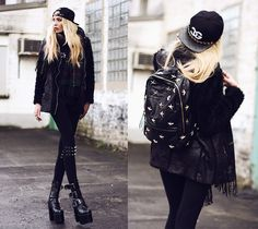 Gypsywarrior Backpack, Trill4 Cap, Chicwish Scarf, Madness Is Leggings, Choies Jacket