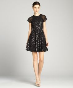 What to Wear to a Winter Wedding: ANDREW MARC Black Sequined Serpent Lace Flutter Sleeve Cocktail Dress