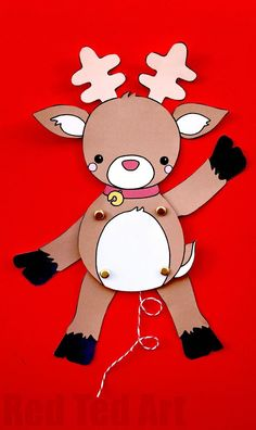 Paper Reindeer Puppet Template - we love a good Rudolph Craft. how adorable is this Rudolph animated puppet? Print, cut and assemble (or colour your own! Love these Christmas Printables 3d Christmas, Christmas Crafts For Kids, Christmas Activities, Christmas Printables, Holiday Crafts, Paper Crafts For Kids, Diy Paper, Imprimibles Toy Story Gratis, Puppets For Kids