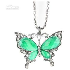 Wholesale Alloy Diamond resin Black Butterfly pandent Necklace... ❤ liked on Polyvore