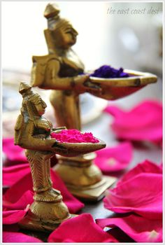 Holi colors in antique brass diyas